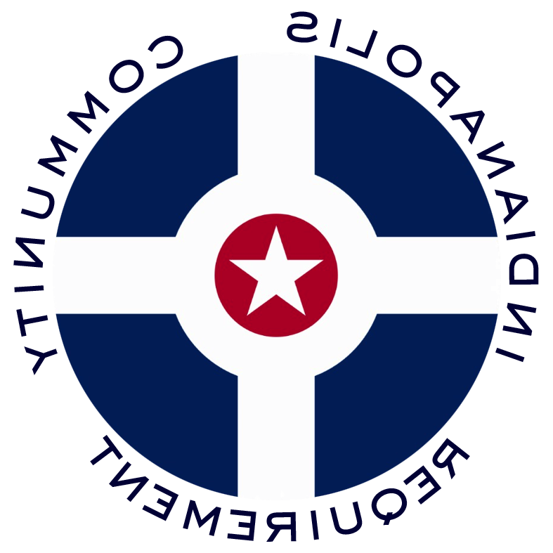 Circular version of Indianapolis city flag surrounded by the words 印第安纳波利斯社区要求