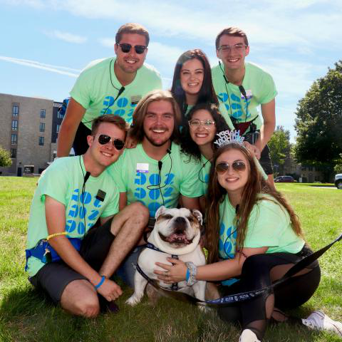 The 2019 Student Orientation Coordinators posing with Butler Blue III